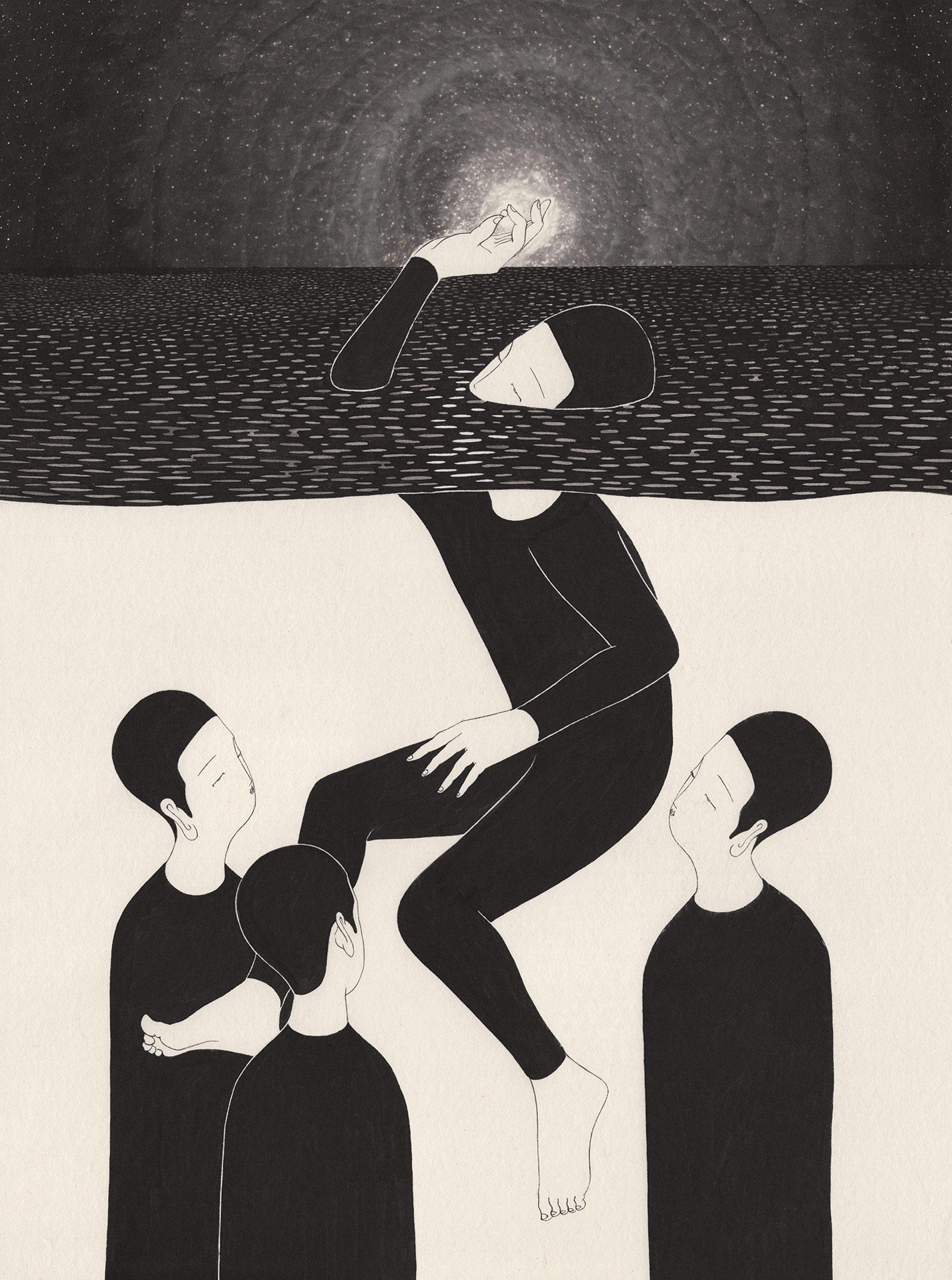 예술가 되기  /  Being an artist   Op.0181P -42 x 68 cm,한지에 먹 / Korean ink on Korean paper, 2017