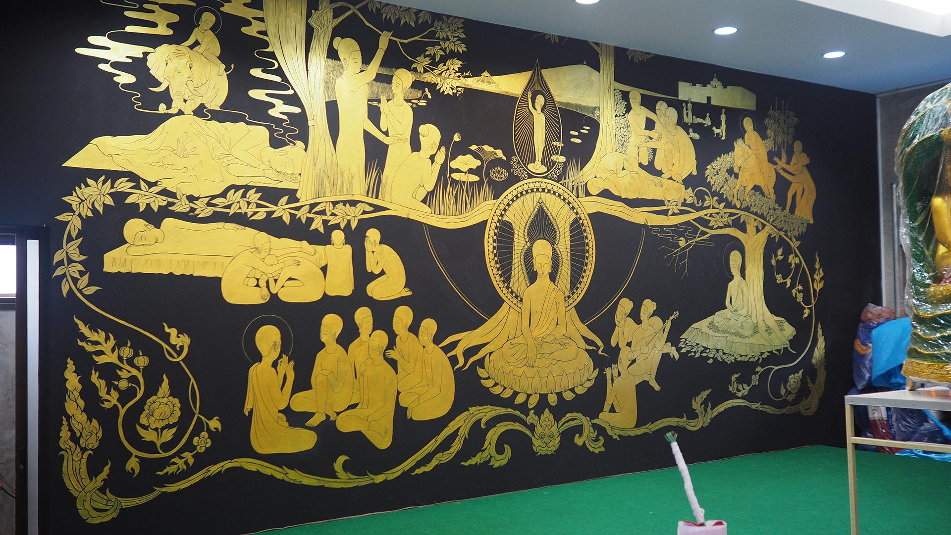팔상도 八相圖  /  Life of buddha   Op.0184PW - 600 x 250 cm, 벽에 아크릴 채색 / Acrylic on wall, 2017 Location: โรงเรียนดอยสะเก็ดผดุงศาสน์ Choeng Doi, Doi Saket District, Chiang Mai, Thailand