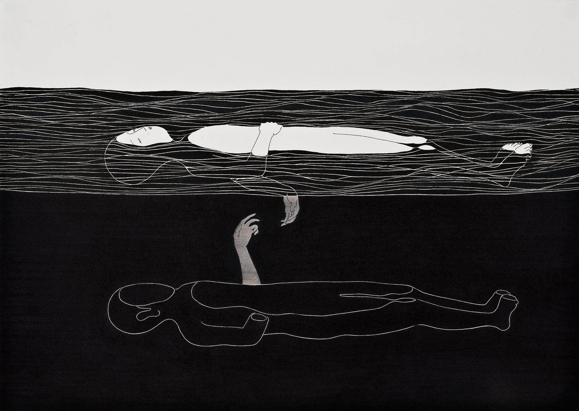 자꾸만 네가 떠올라  /  Sinking of you   Op.0039P -42 x 29.7 cm,종이에 펜, 마커 / Pigment liner and marker on paper, 2010