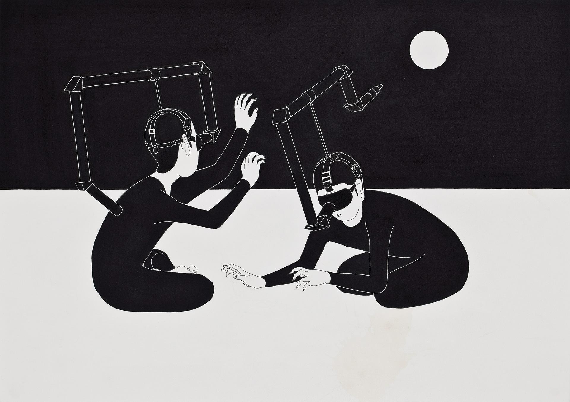 인칭기계  / I can see you!   Op.0044P -42 x 29.7 cm,종이에 펜, 마커 / Pigment liner and marker on paper, 2010