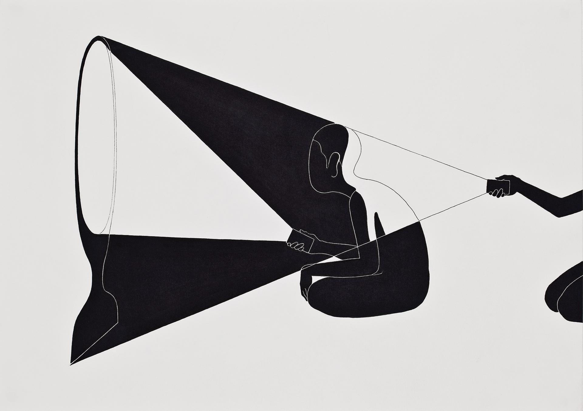 빛나는 어둠  / Bright darkness   Op.0045P -42 x 29.7 cm,종이에 펜, 마커 / Pigment liner and marker on paper, 2010