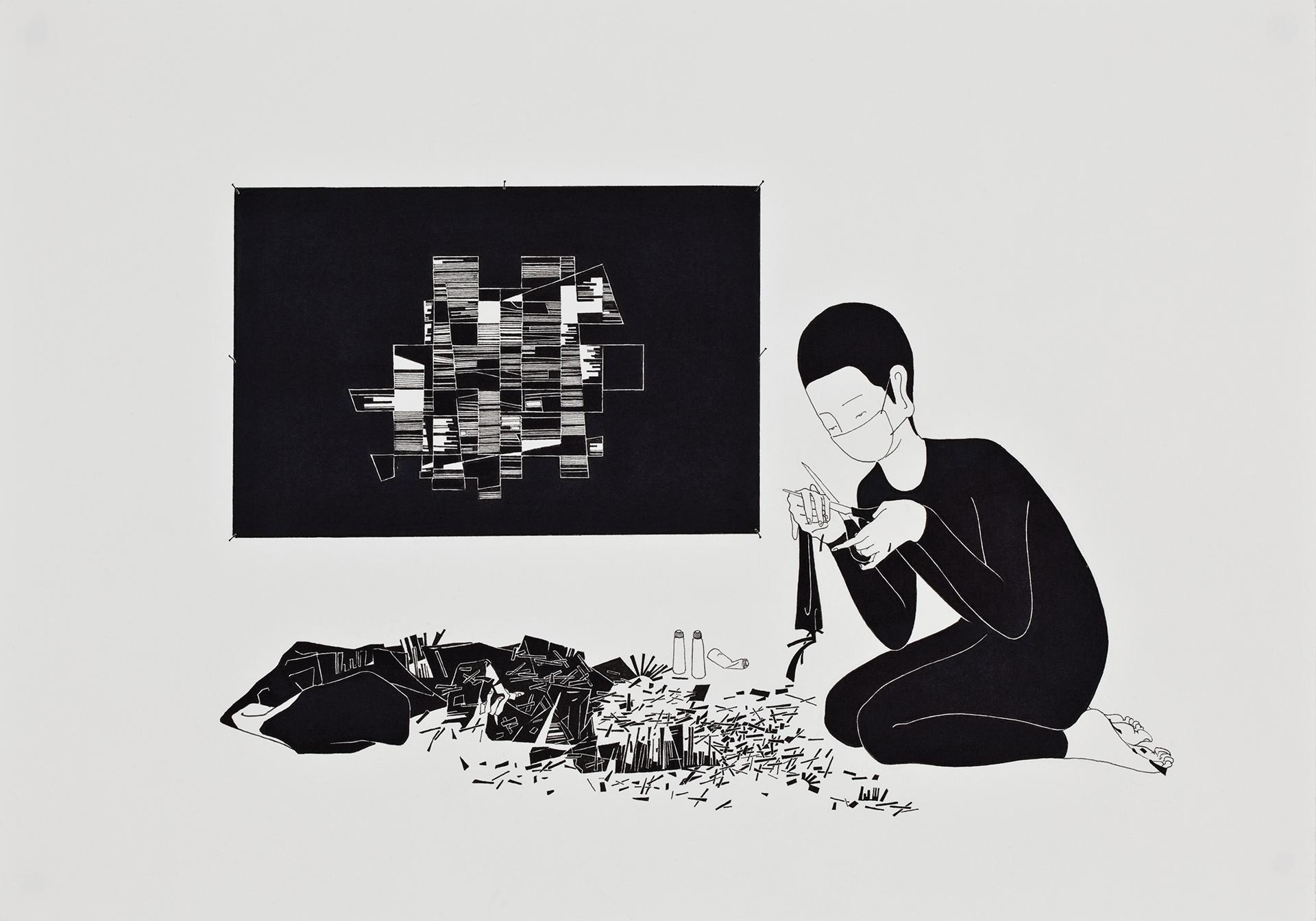 너에 관한 추상  / An abstract romanticist   Op.0047P -42 x 29.7 cm,종이에 펜, 마커 / Pigment liner and marker on paper, 2010