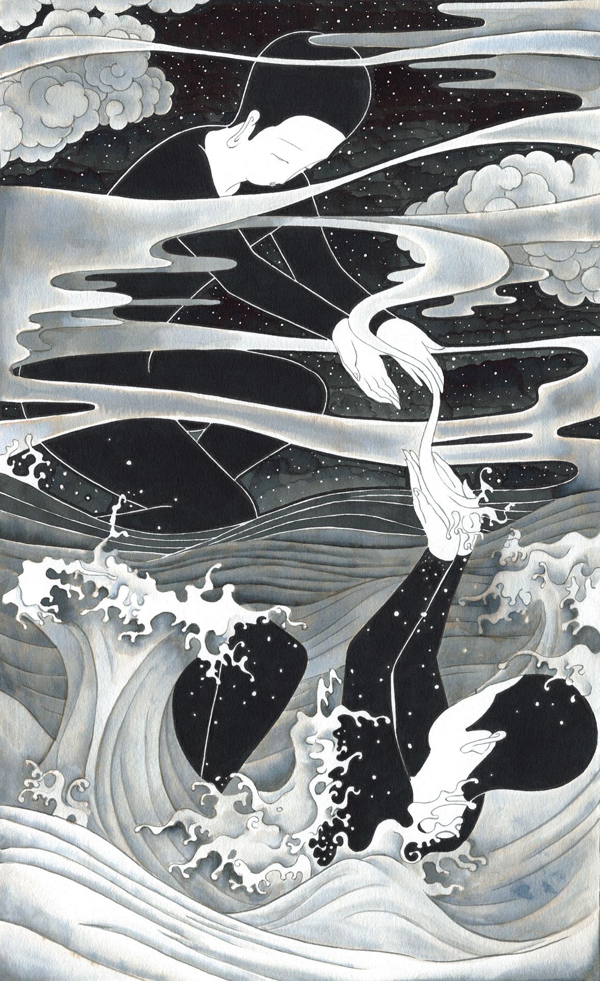 氣  /  Wind Water   Op. 0201C -18.5 x 30.5 cm,Ink on paper, 2018