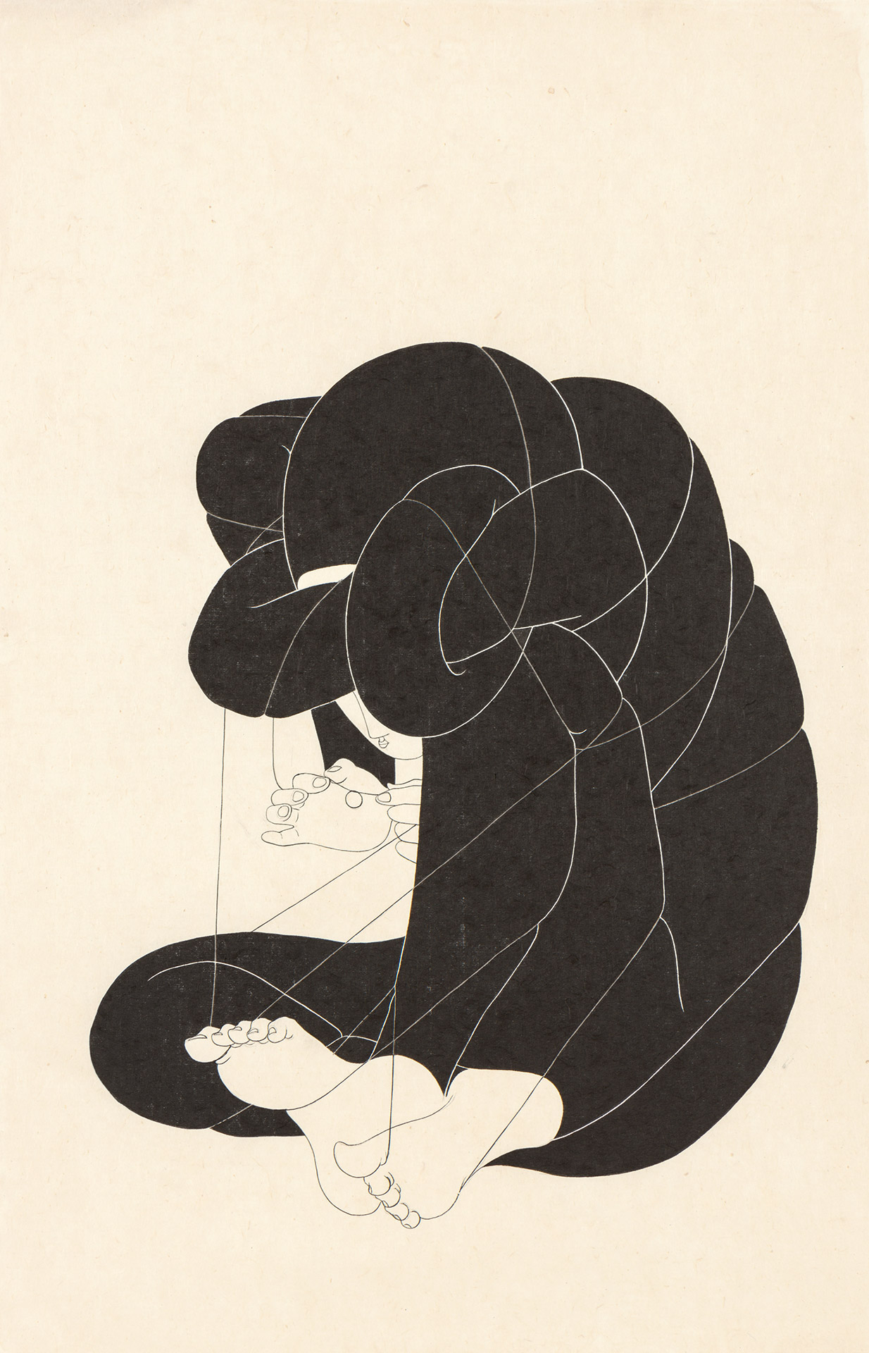 자승자박 自绳自缚 /  I locked myself out of me   Op. 0203P -48 x 72 cm,Korean ink on Korean paper, 2018