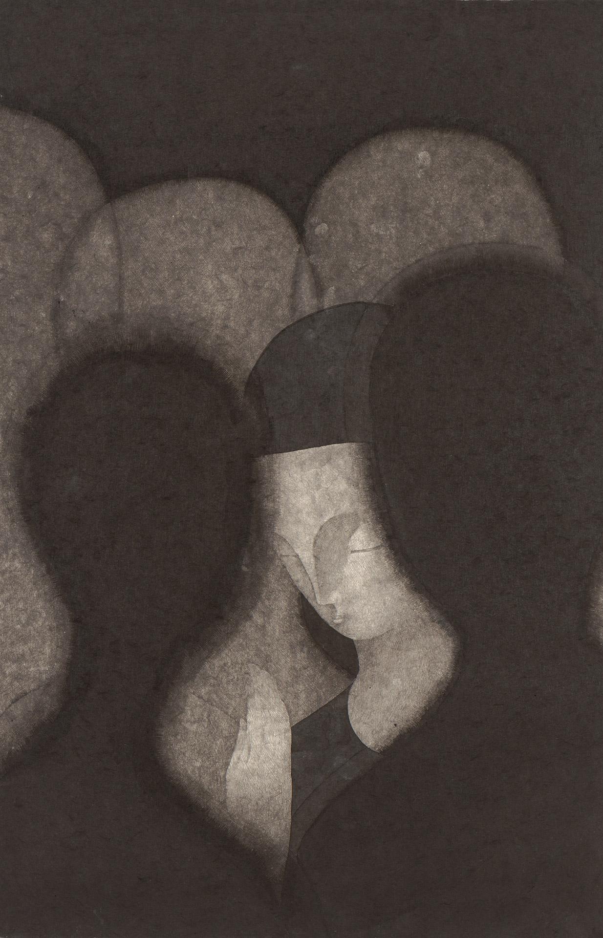 불안한 평화  /  Me dimly seen in the distance   Op. 0204P -48 x 72 cm,Korean ink on Korean paper, 2018