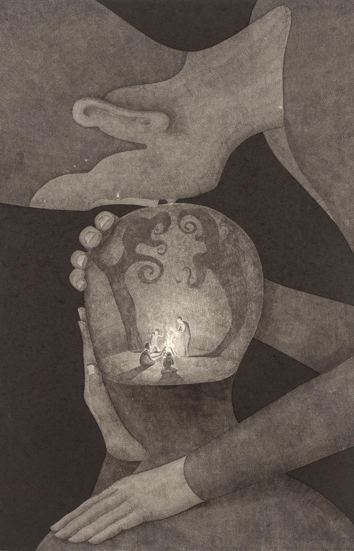 건강한 삶을 위하여 /  The cessation of pain   Op. 0205P -48 x 72 cm,Korean ink on Korean paper, 2018