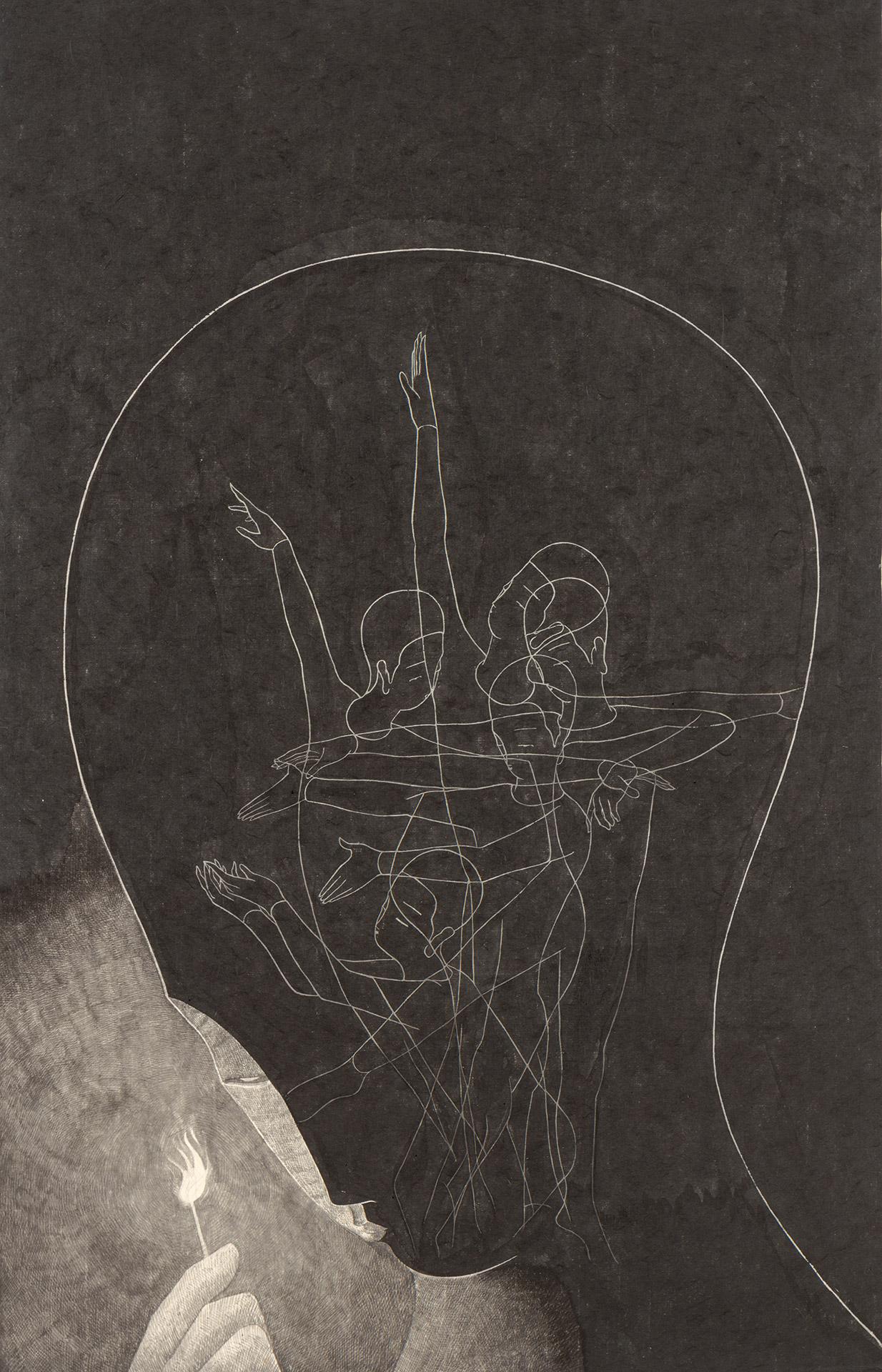 마음의 불꽃 /  Mind like fire   Op. 0206P -48 x 72 cm,Korean ink on Korean paper, 2018