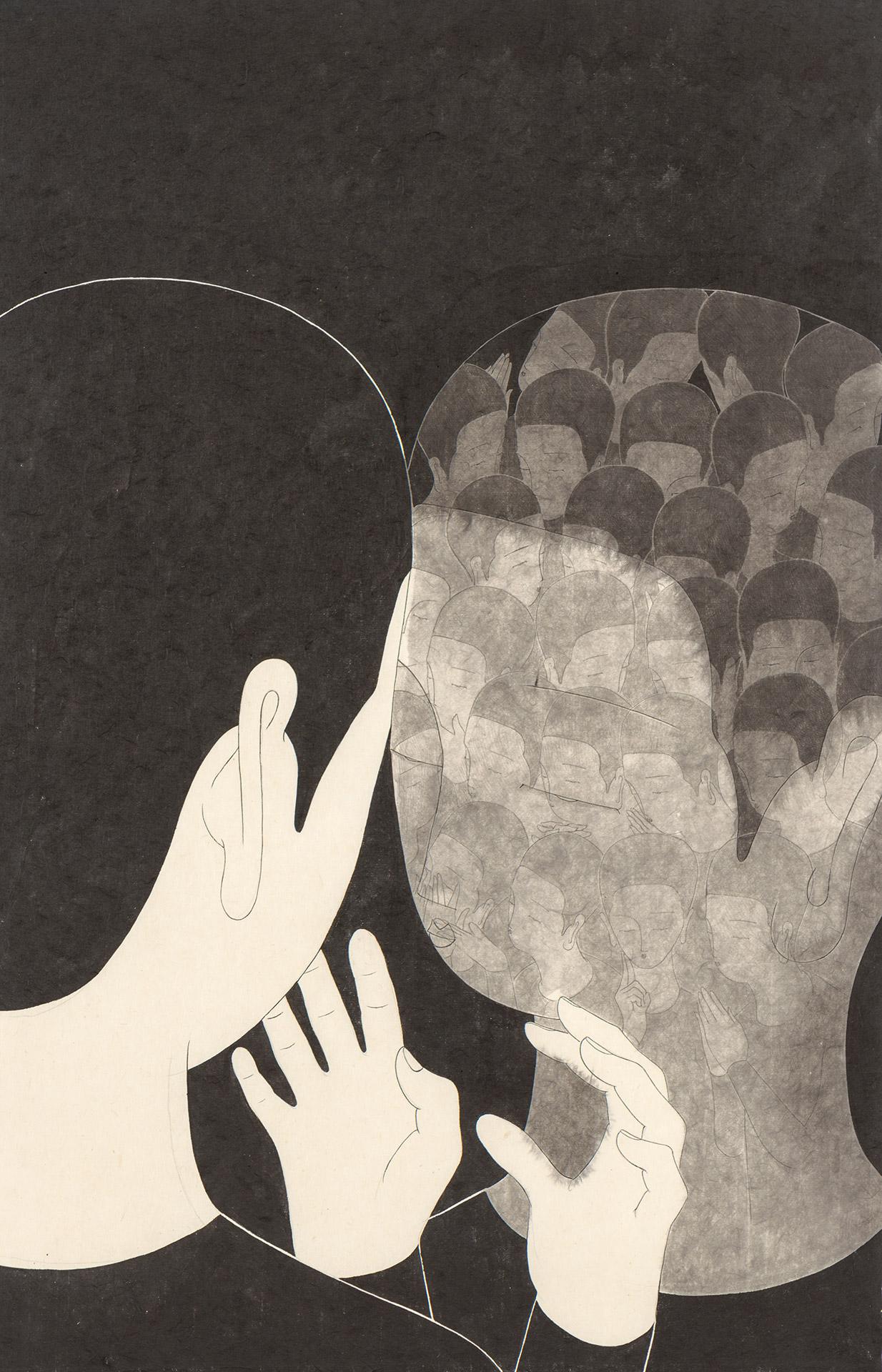 너들과 나  /  Yoooooou and me   Op. 0208P -48 x 72 cm,Korean ink on Korean paper, 2018