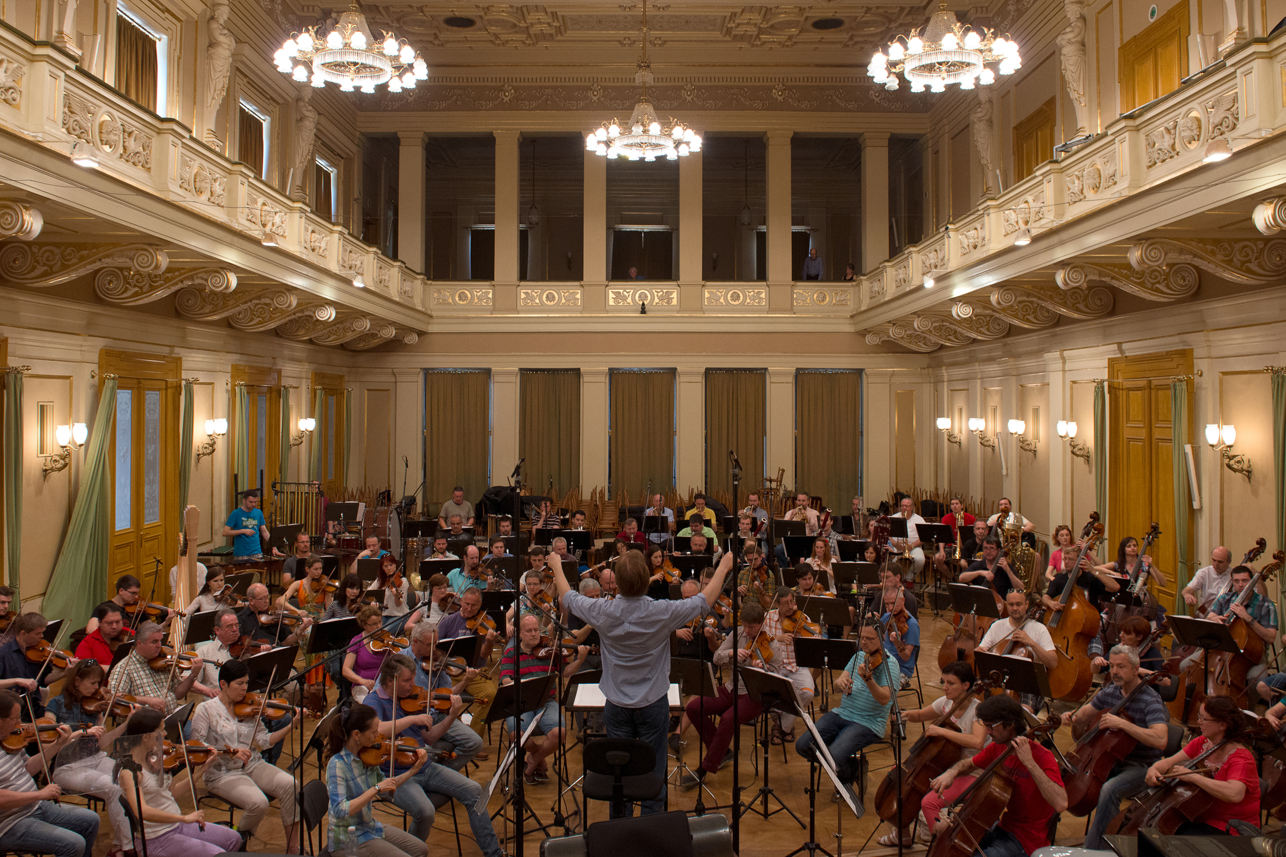 Mikel Toms and the Brno Philharmonic recording Martin Hebel's  Symphony No.3 in E Minor: Concert in Three Acts , (June 2015).