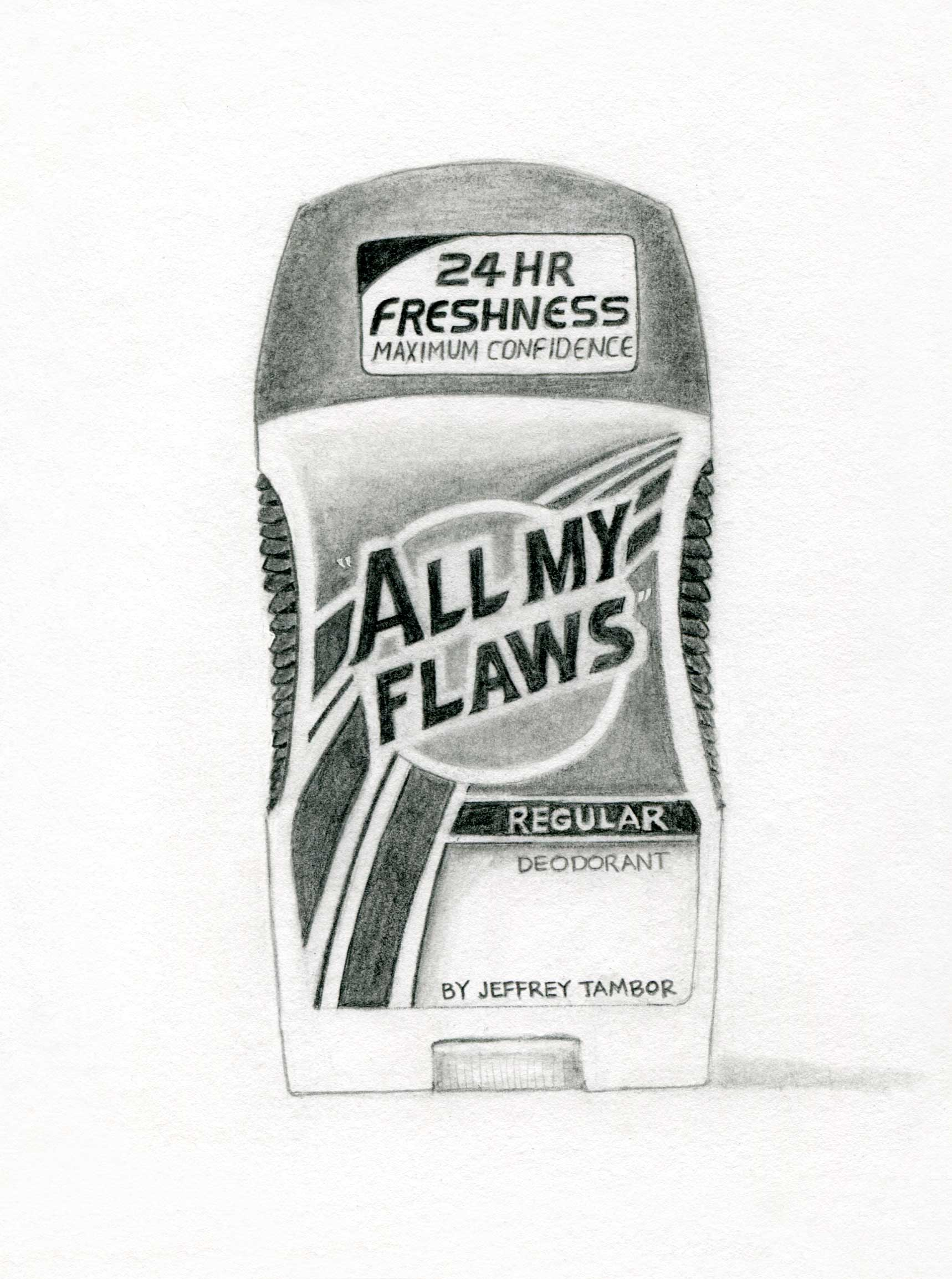 """All My Flaws"" Regular Deodorant by Jeffrey Tambor, Actor (Speed Stick), graphite on paper, 25.5in x 19.5in, 2018"