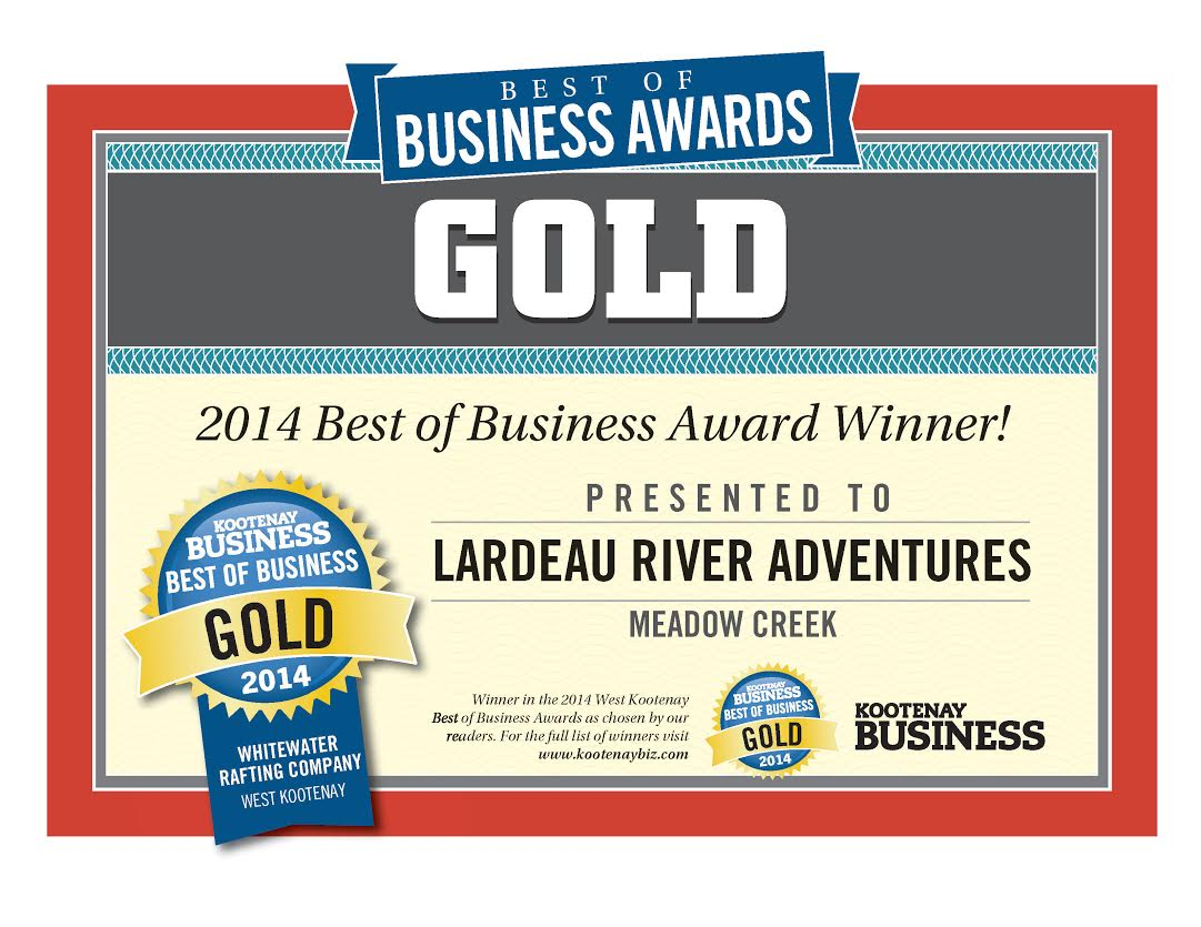 Kootenay Business Magazine Best of Business Awards - Lardeau River Adventures