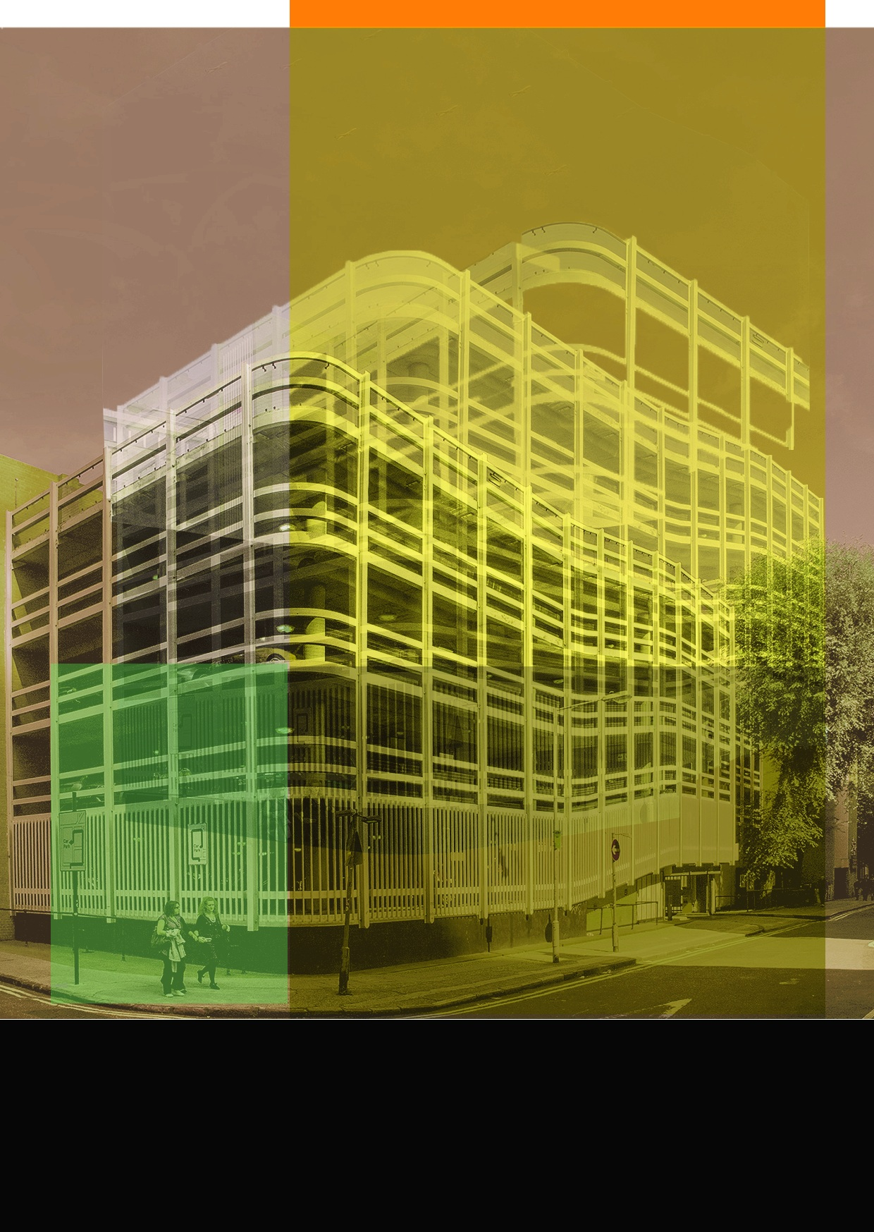 Part of a series of digital prints recording recently demolished car parks in London