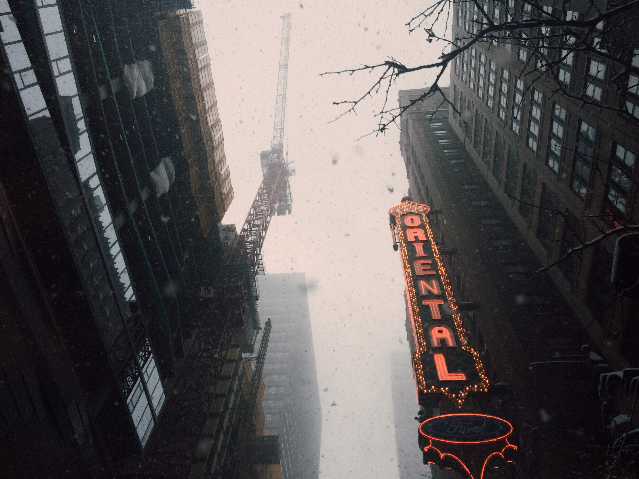 Chicago's Theater District in snow