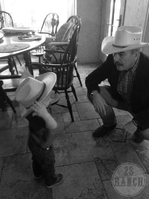 Man to man talk with my grandson as to when a cowboy should tip his hat. #CowboyManners