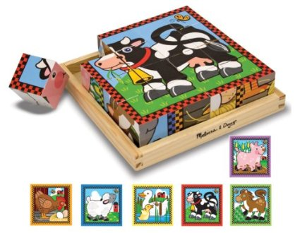 Six puzzles in one! There are 16 solid wooden cubes in this unique puzzle. Rotate the cubes in the included wooden tray to complete colorful pictures of six different farm animals. (The border design provides a helpful hint!)  Appropriate for ages 3 and up.