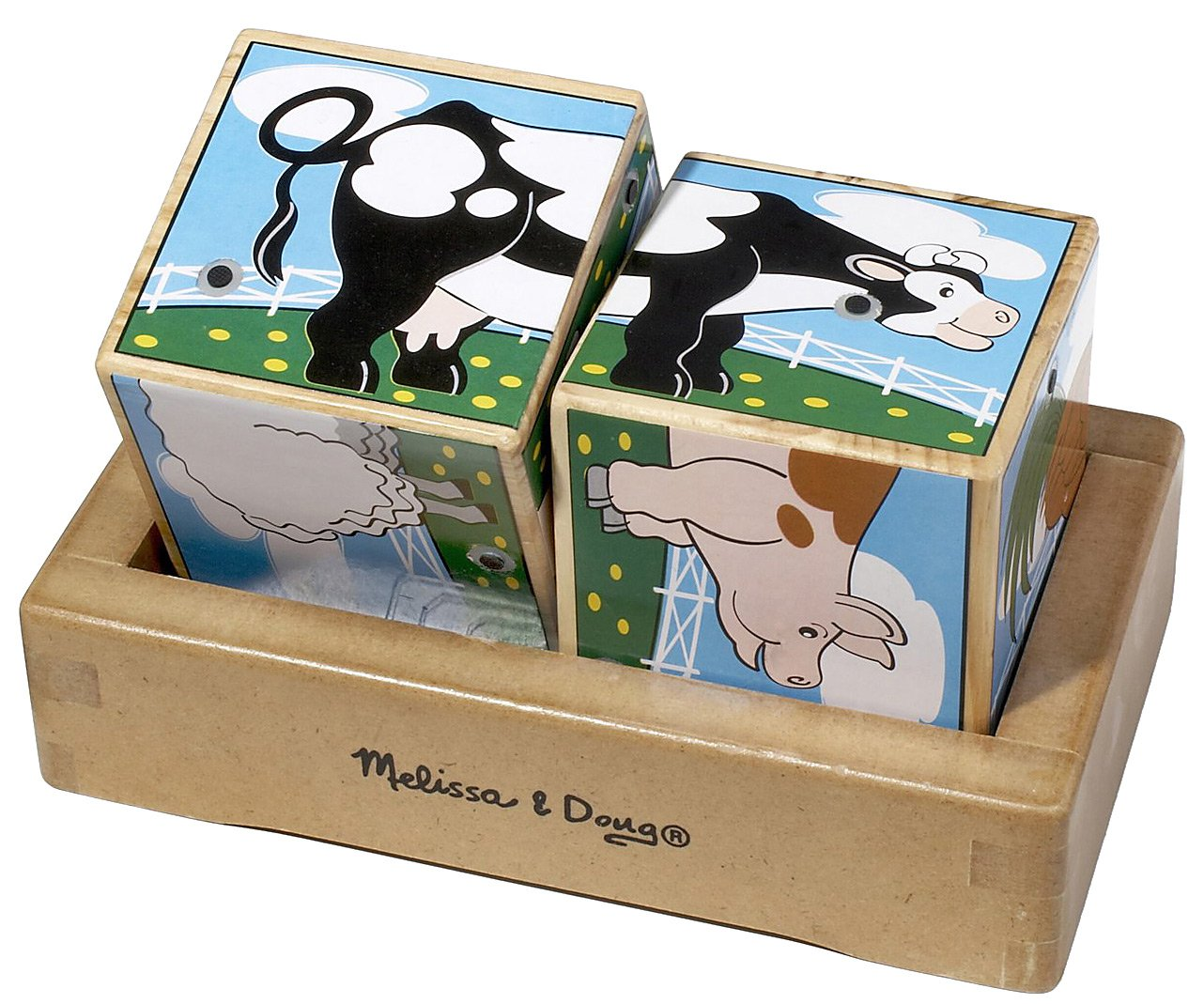 """The farm animals """"sound off"""" when the two wooden cubes are properly placed in the wooden tray! Find the halves that match and listen to six realistic farm animal sounds. This helps to develop visual perception and fine motor skills.  Appropriate for ages 2 and up."""