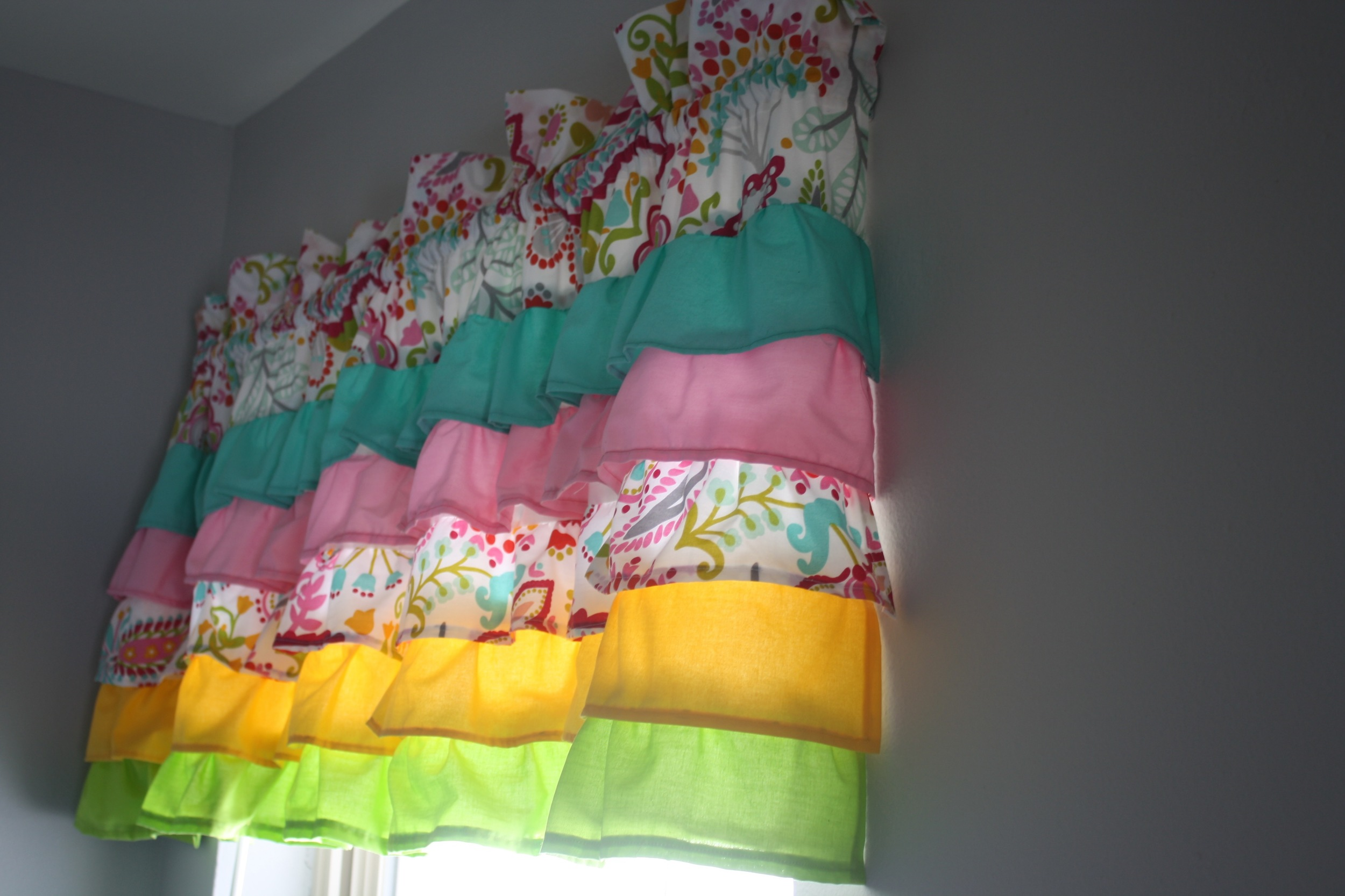 One of the ruffled valences they made! I'm not sure my son, Trent, knew what ruffles were until this project was underway!