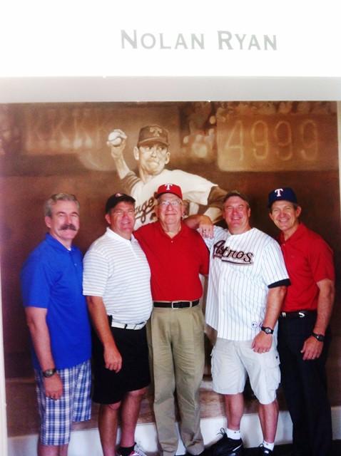 Bart Eric, Dad, Blake, and Jim at the Ball Park in Arlington - 2013