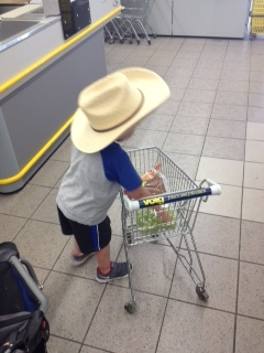 No surprise,their little cowboy didn't leave Texas without his cowboy hat! You can take the cowboy out of Texas, but can't take Texas out of thiscowboy!