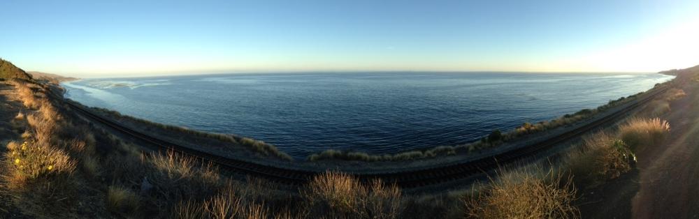 Panorama view of a vista point along the Central Coast, near Atascadero.