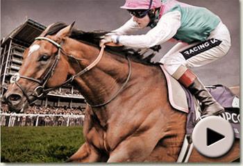 Frankel winning the Juddmonte International Stakes