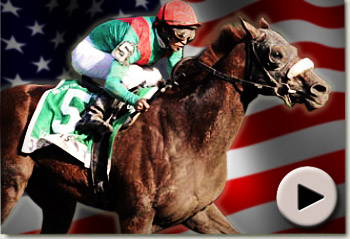 Visionaire wins the King's Bishop Stakes at saratoga, USA