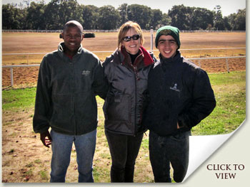 Becky Thomas of Sequel Bloodstock with Thabiso Mgoza and Ricardo Christian