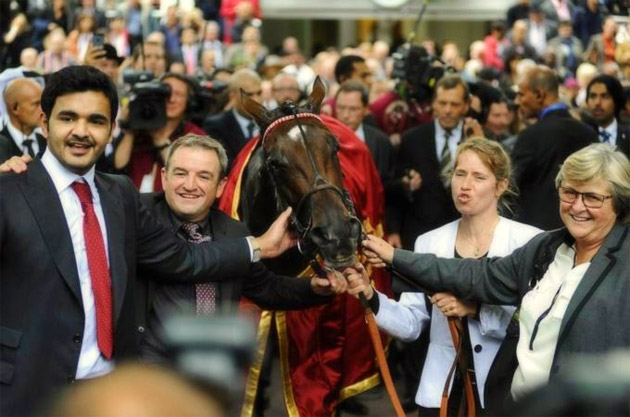 Sheikh Joaan bin Hamad Al Thani and trainer Criquette Head-Maarek with Treve