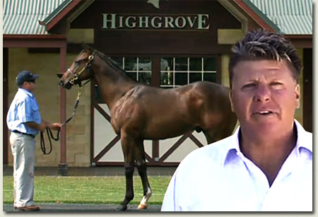 Ron Gilbert of Highgrove Stud with top Street Sense colt