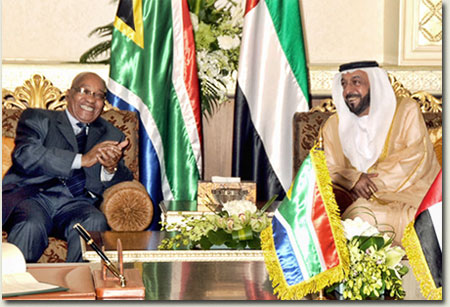 President His Highness Sheikh Khalifa bin Zayed Al Nahyan and President Jacob Zuma