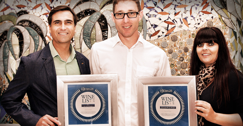 Head Chef Constantijn Hahndiek received the Diner's Club Diamond Winelist Award on behalf Hartford House.