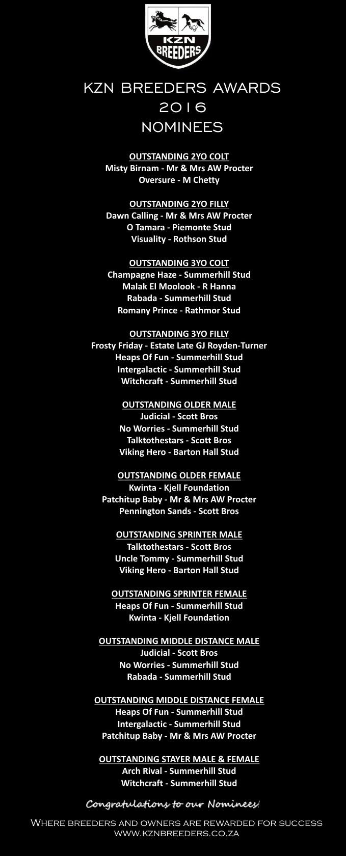 KZN Breeders Awards 2016 Nominations