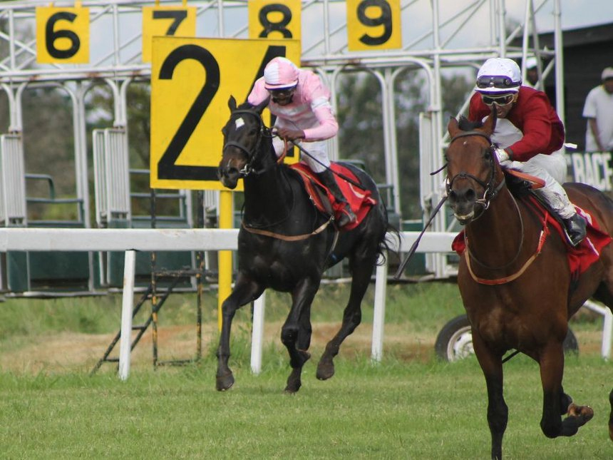 James Muhindi aboad Pharaoh's Advocate (L, Pink) racing to catch up with Francois Herholdt (R) jockeying Free Wheel during Kenya Derby on April 22 at the Ngong Race Course / CONSOLATA MAKOKHA(p)