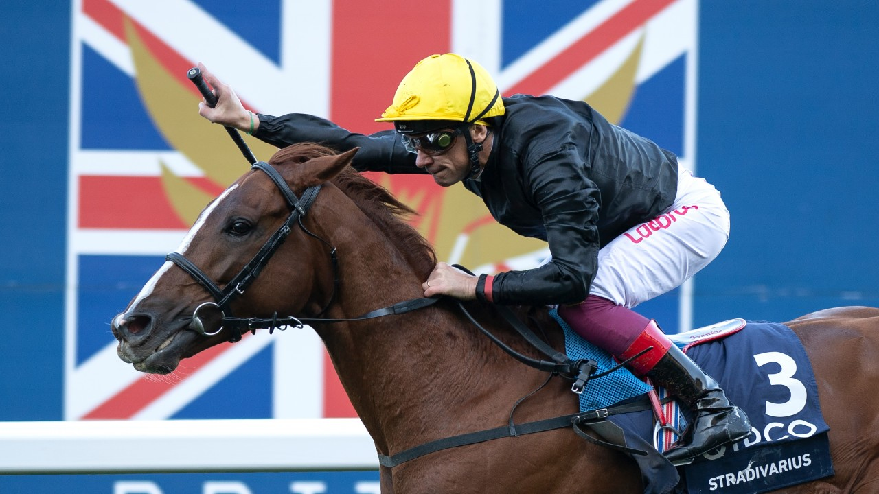 Frankie Dettori celebrates winning the Long Distance Cup on Stradivarius / Racing Post (p)