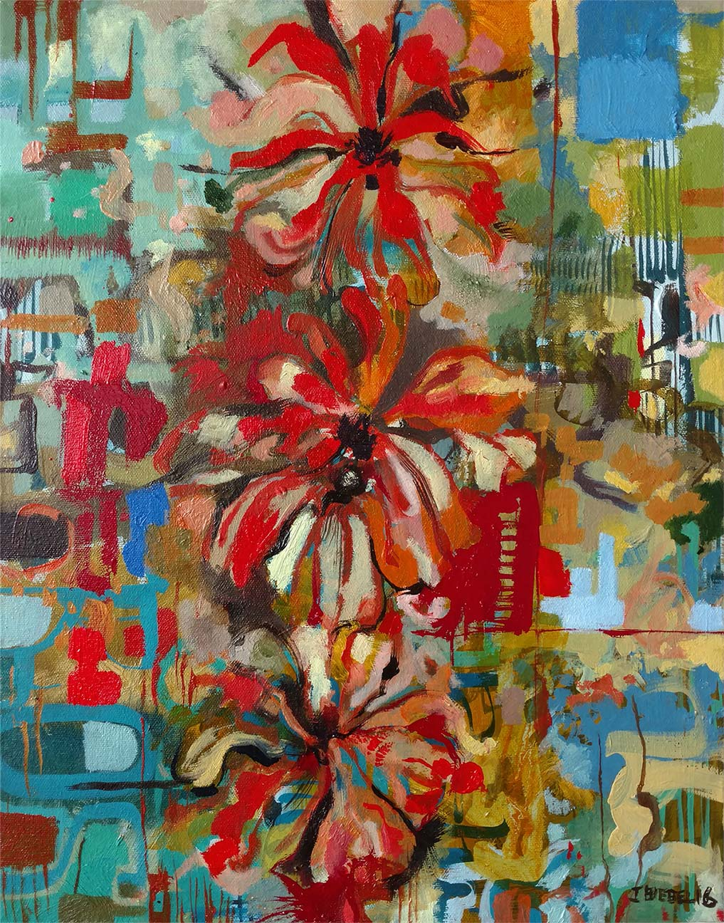 Three Red Jasmine Flowers