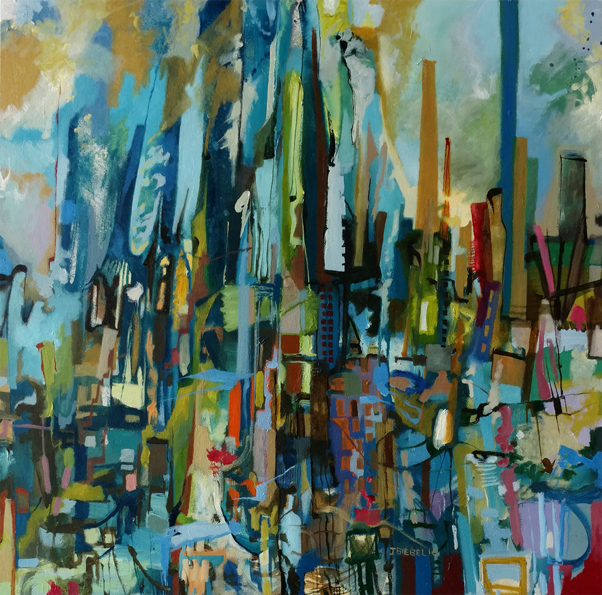 City of Fog, Oil on canvas, 30 x 30 inches, 2016.