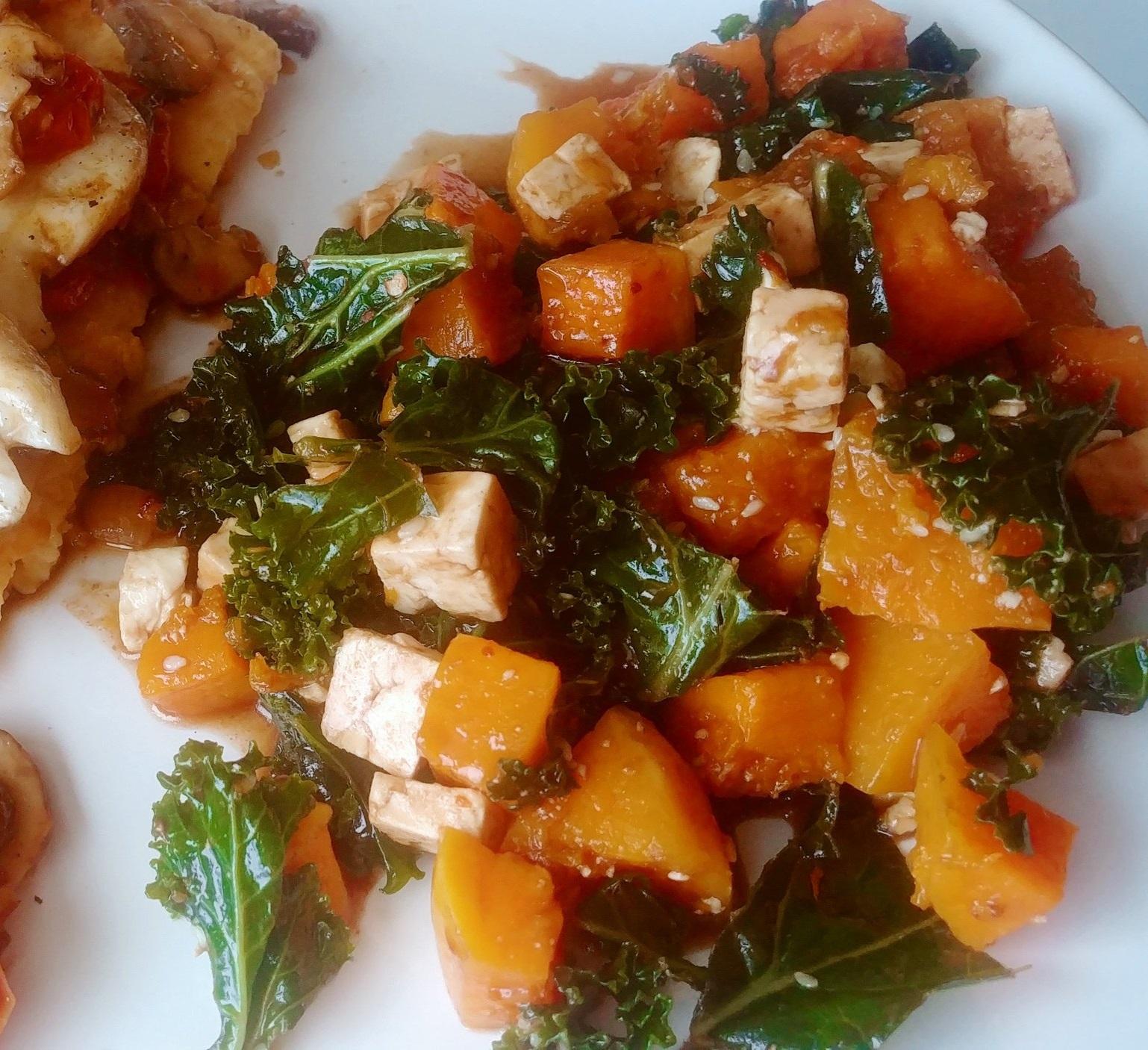 Butternut & Kale Salad with Feta & Honey