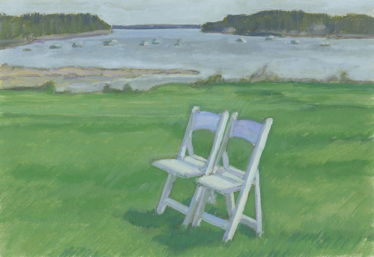 Bride and groom's chairs. Northeast Harbor, Acadia, ME. June 2019
