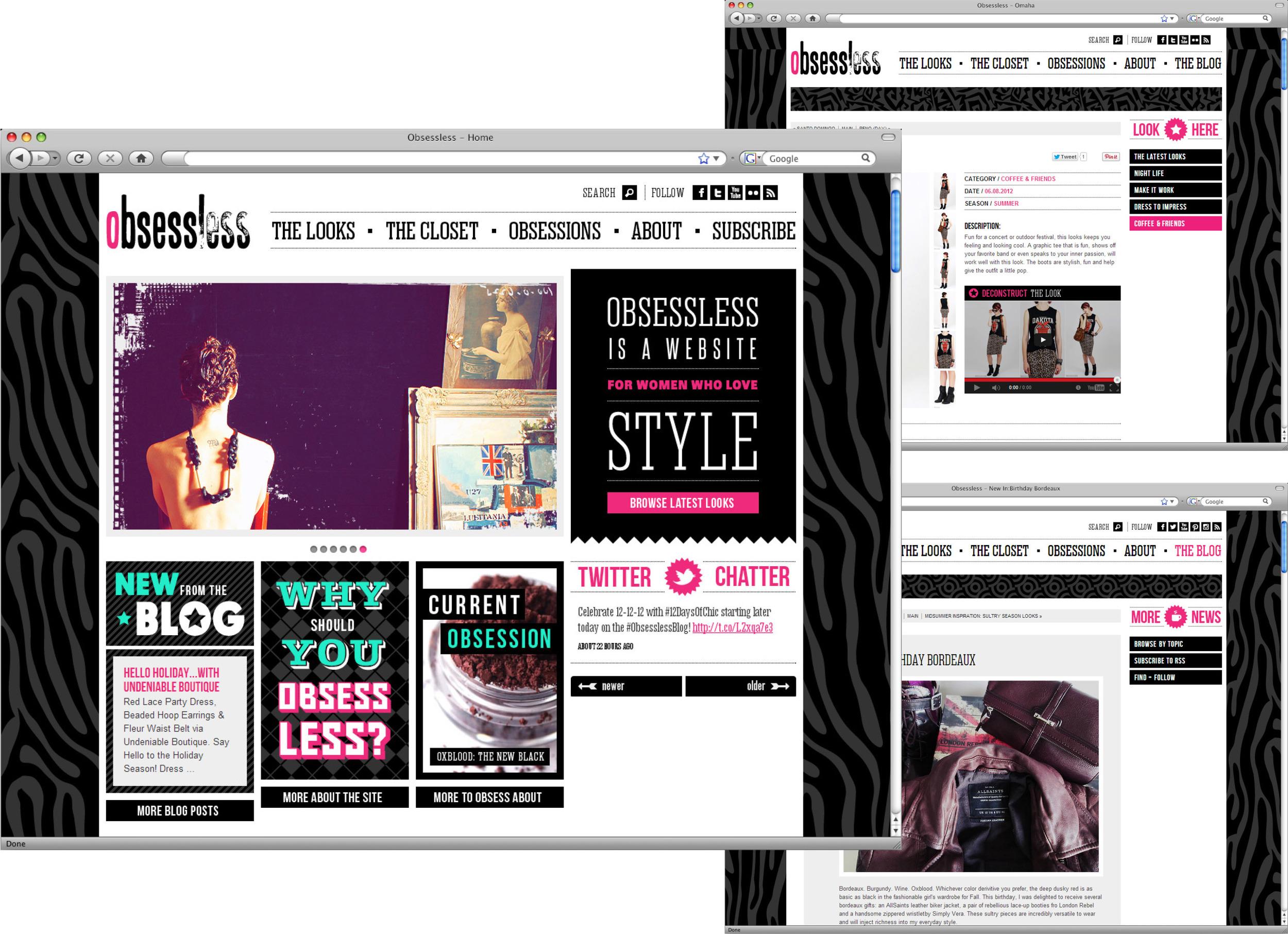 Obsessless Website, July 2014.