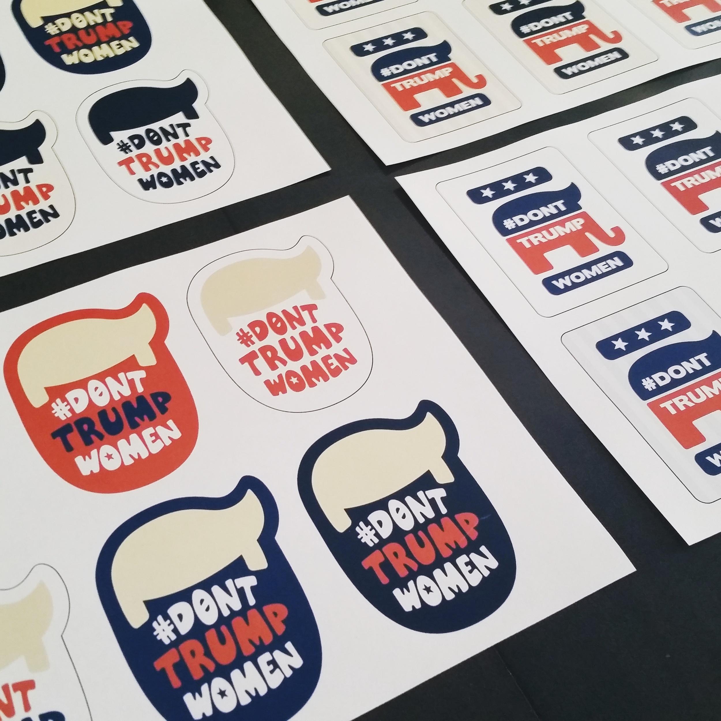 #DontTrumpWomen sticker designs. ©2016 TheFemmeProject.