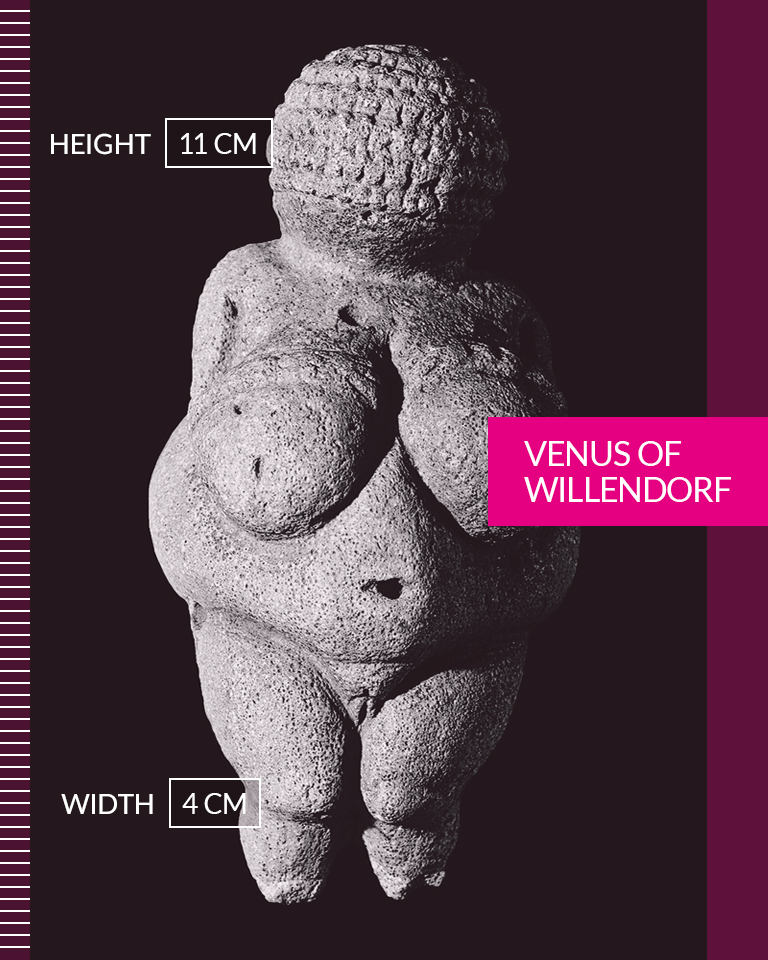 Venus of Willendorf   Ideal beauty may been carved in stone, but it was never inflexible. Historical trends, cultural attitudes and social conformity have shaped our perspective of beauty, body image and normality over time. In celebration of our history, I'd like to refashion the prevailing narrative of beauty standards to include and showcase the diversity of ALL women. Whether real, celebrity or imaginary, it may surprise and inspire you to know just how unique and beautiful we all really are.  • • •  Height: 11 CM Width: 4 CM