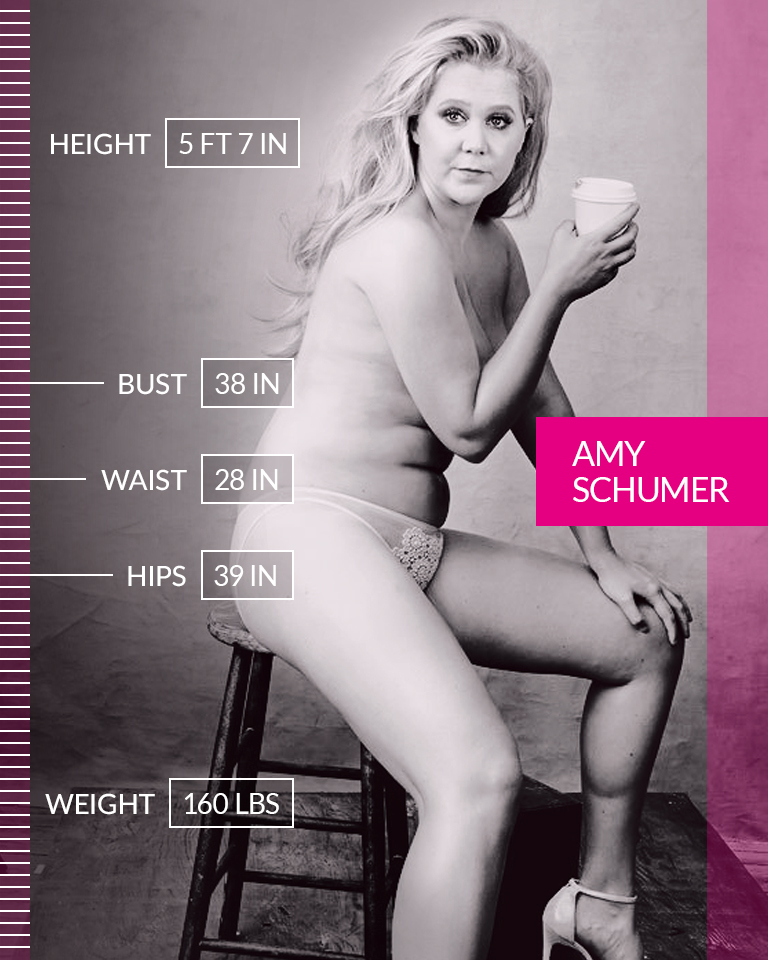 """Amy Schumer   """"For women, we're taught to eat less until we disappear. And trained to believe that if you don't look like everyone else, then you're unlovable. And men are not trained that way. Men can look like whatever and still date a supermodel. I'm proud of what I said. I think it's good to see somebody saying: I have a belly. And I have cellulite. And I still deserve love. And to catch the old D. And to not apologize."""" ☆ Amy Schumer ☆ We are #MoreThanANumber.  • • •  Height: 5 FT 7 IN Bust: 38 IN Waist: 28 IN Hips: 39 IN Weight: 160 LBS"""