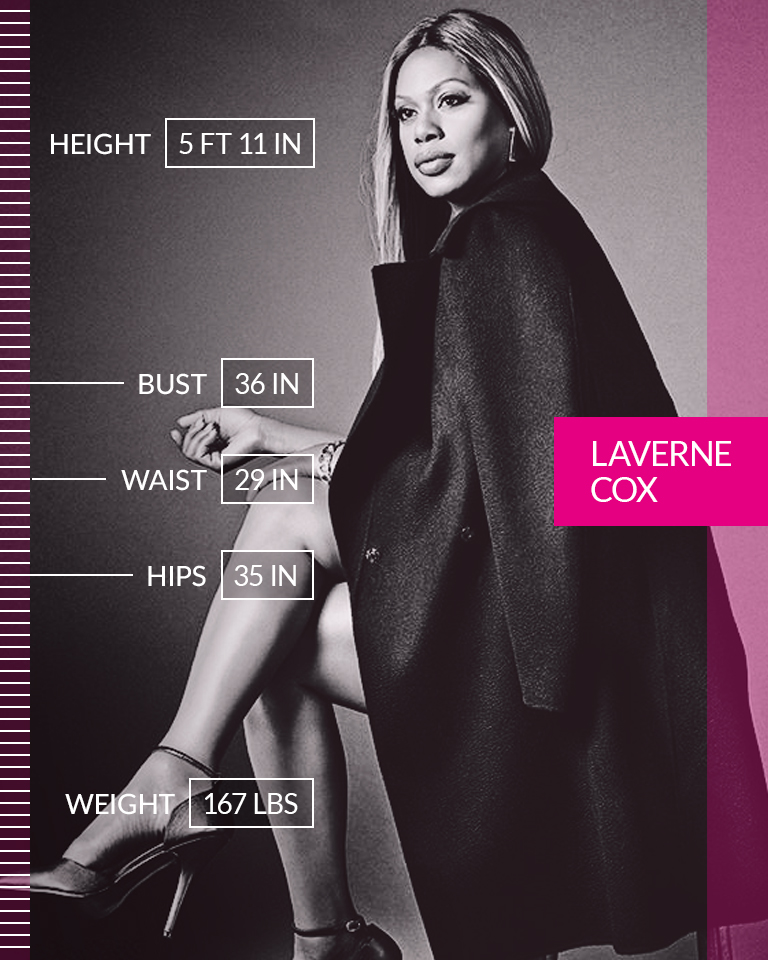 """Laverne Cox   """"For me, the transgender thing is the reality of my life. It's the reality of my existence and it's something that I've come to believe is beautiful about me."""" ☆ Laverne Cox ☆ We are #MoreThanANumber.  • • •  Height: 5 FT 11 IN Bust: 36 IN Waist: 29 IN Hips: 35 IN Weight: 167 LBS"""