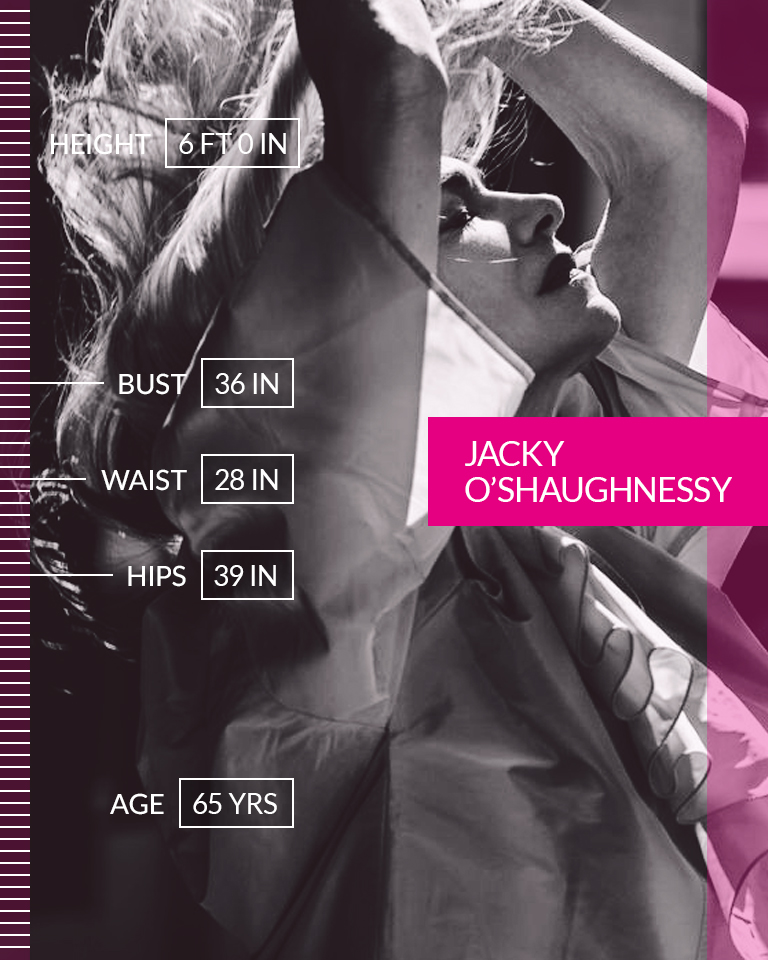 """Jacky O'Shaughnessy   """"It's time to take the jacket off of the book and get to the essence. There's an epidemic of poor body image for women, especially at my age."""" ☆ Jacky O'Shaughnessy (about doing What's Underneath) ☆ We are #MoreThanANumber.  • • •  Height: 6 FT 0 IN Age: 65 Bust: 36 IN Waist: 28 IN Hips: 39 IN"""