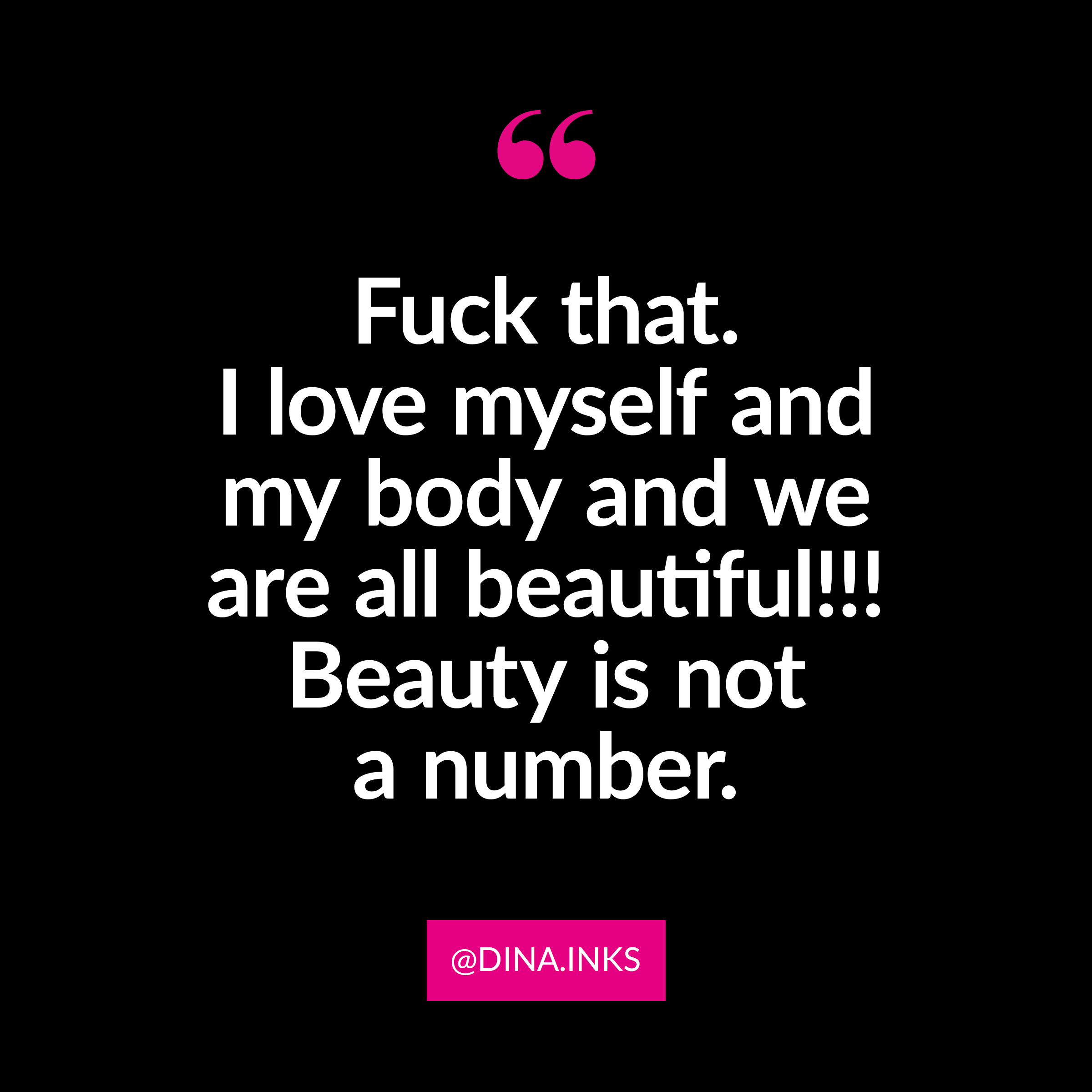 """☆ Submission via  @dina.inks  ☆   Fuck beauty standards - according to them - I """"weigh too much,"""" """"my tits are too small,"""" and certainly don't fit into the standards! Fuck that. I love myself and my body and we are all beautiful!!! Beauty is not a number. My measurements: Bust: 34 • Waist: 32 • Hips: 39 • Weight: 157 • Size: 10"""