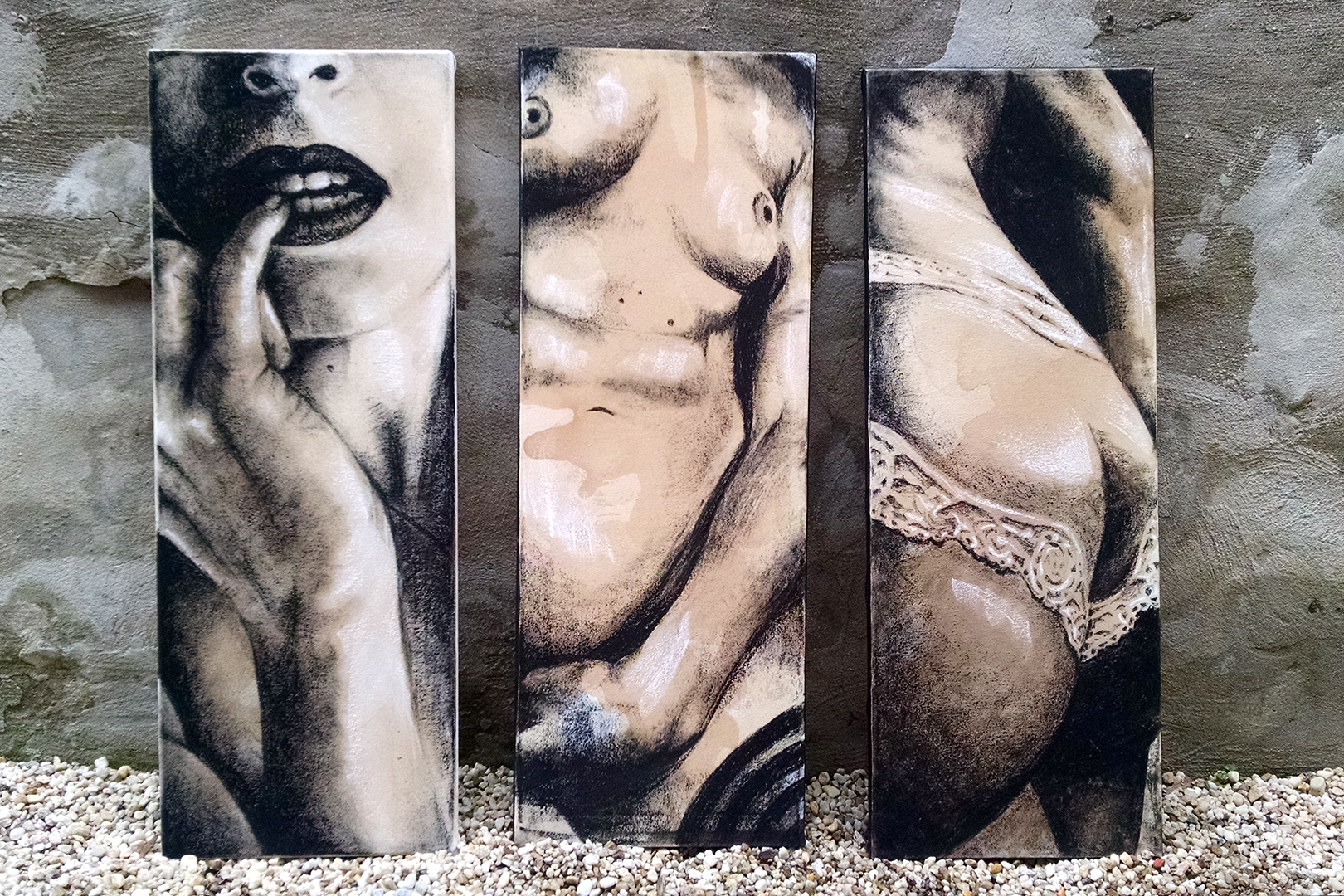 Sexting IMGS Series  First three finished charcoal illustrations. ©2015 The Femme Project