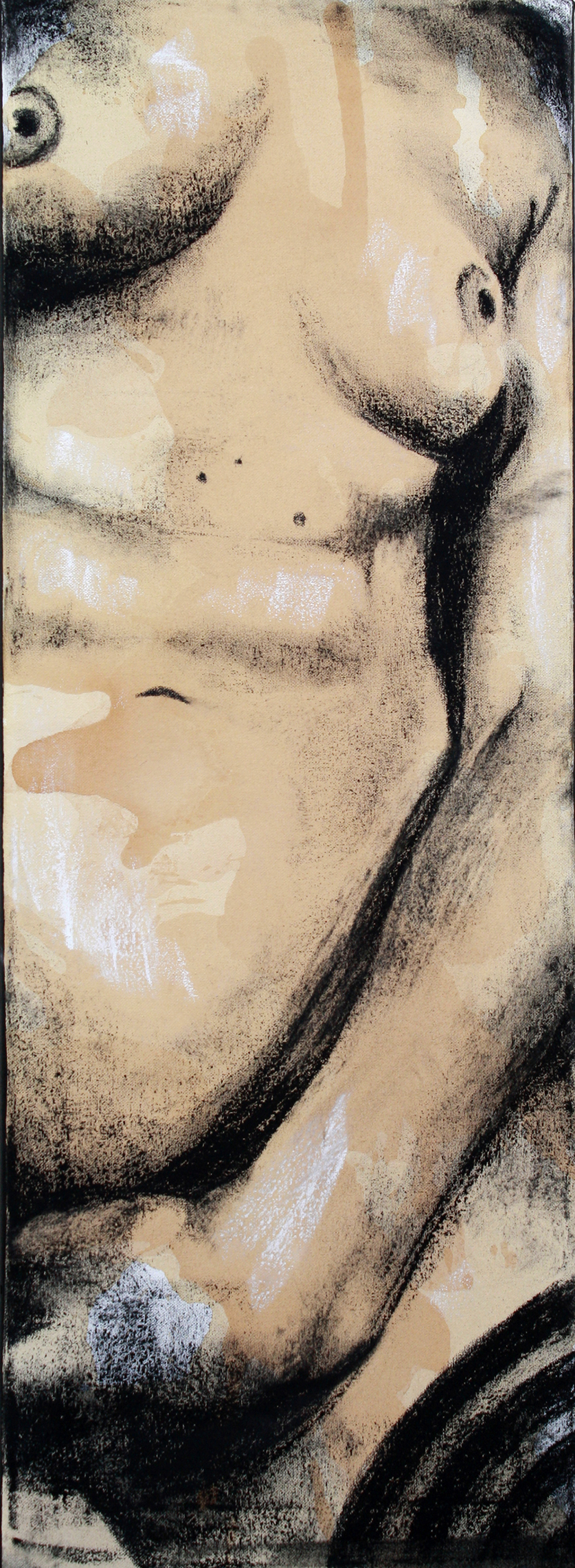 Sexting IMG.201405.001  Charcoal & Tea on Canvas ©2014 The Femme Project