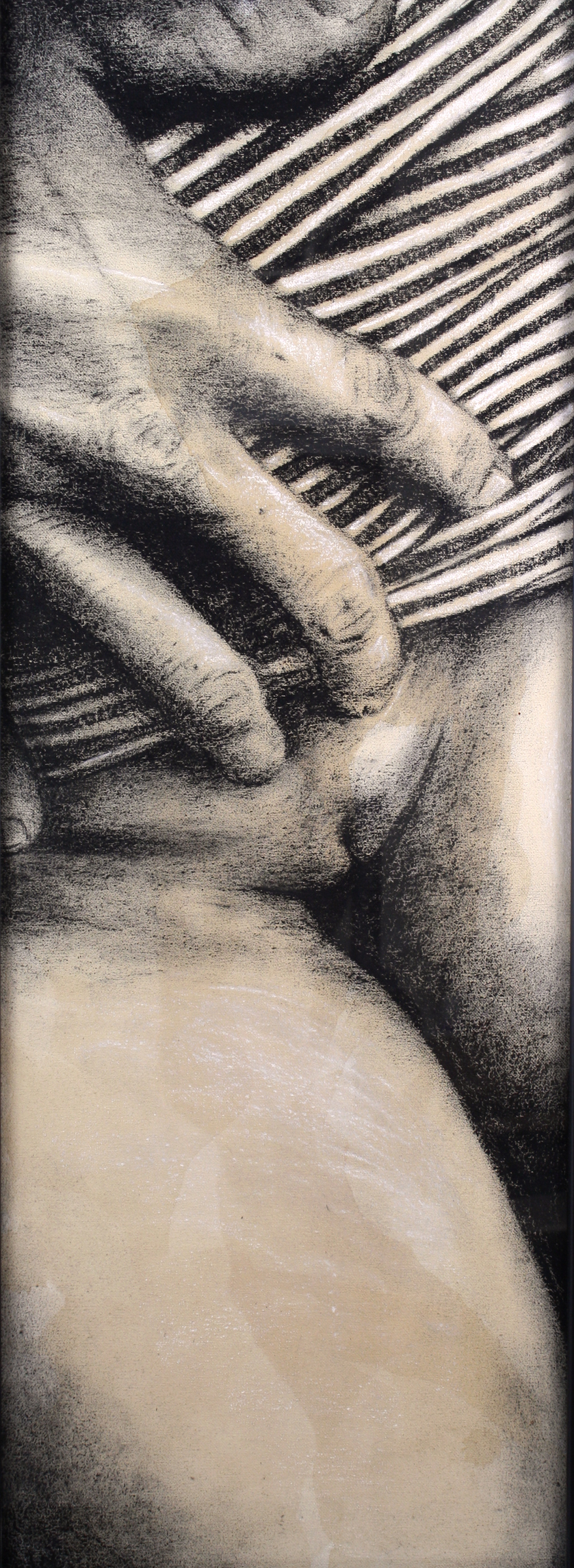 Sexting IMG.201403.004  Charcoal & Tea on Canvas ©2016 The Femme Project