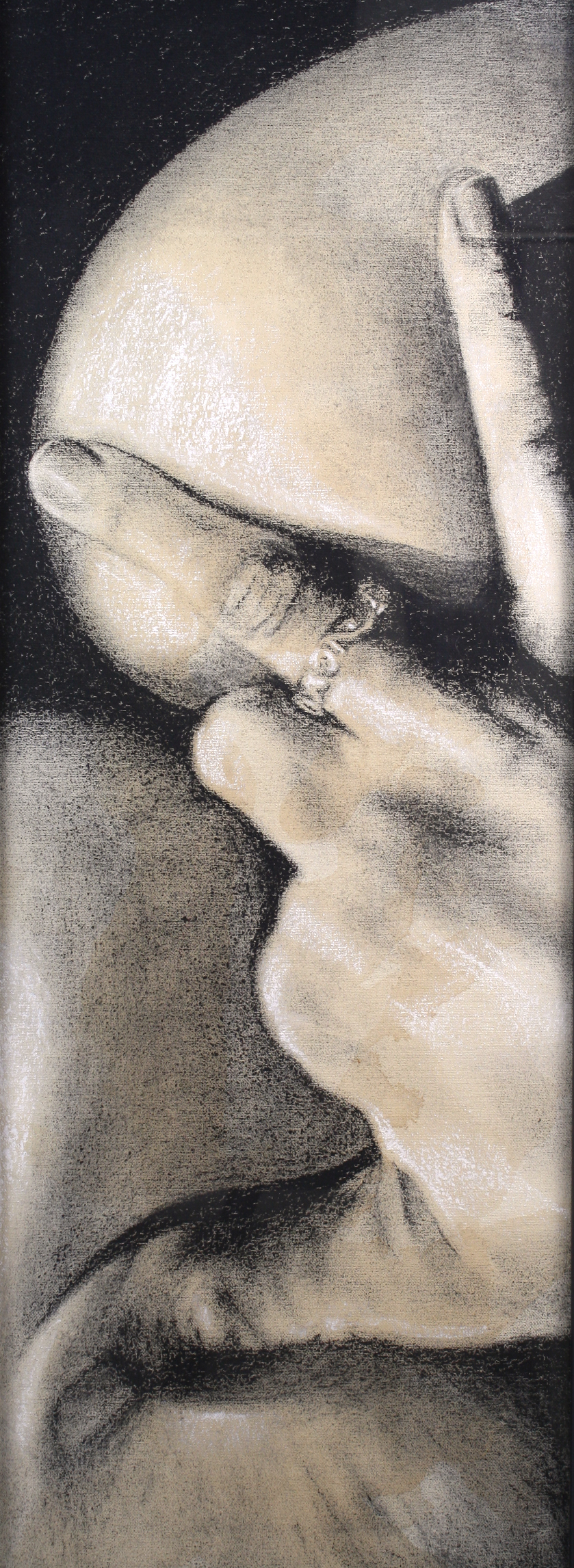 Sexting IMG.201508.005  Charcoal & Tea on Canvas ©2016 The Femme Project