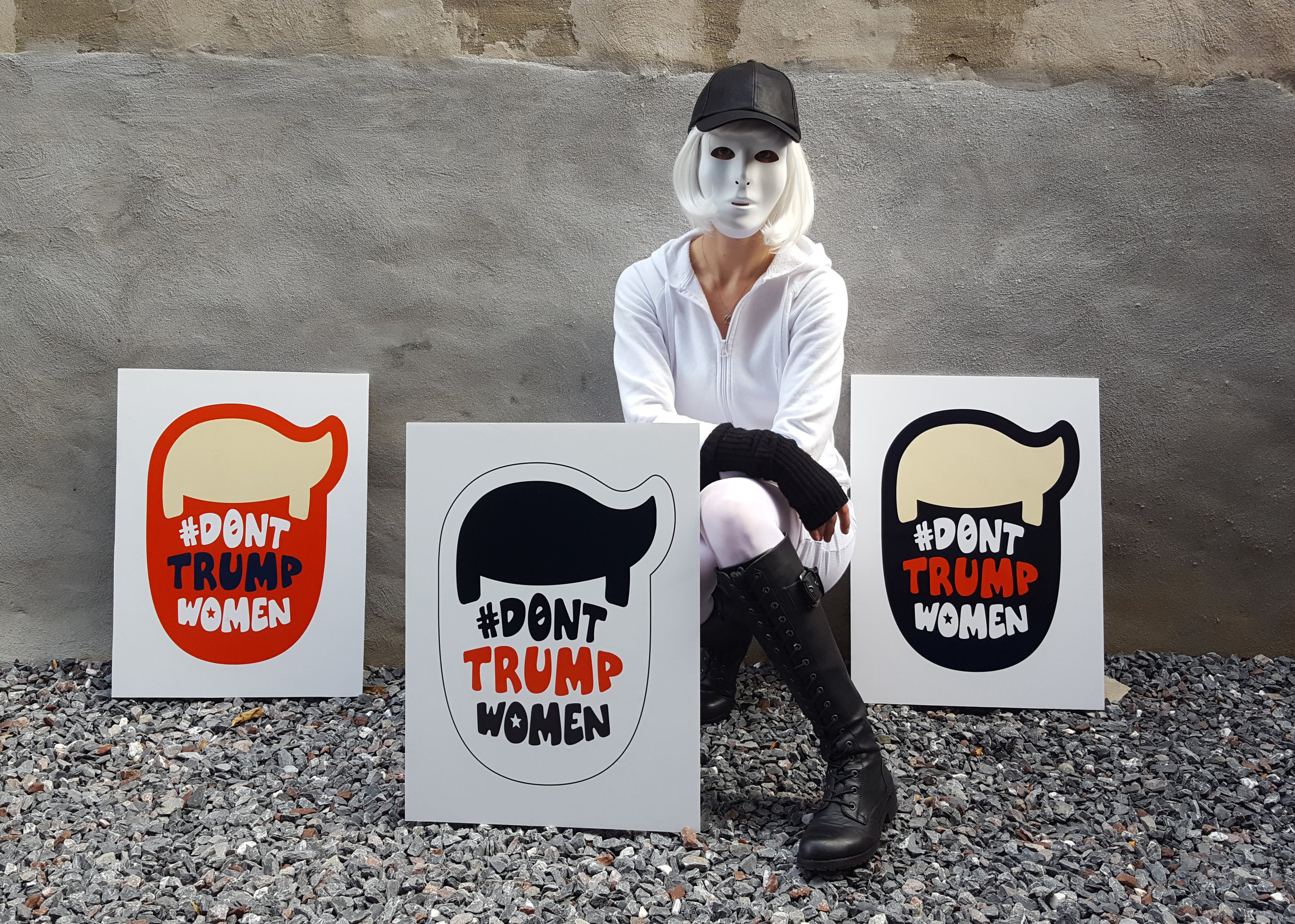 "#DontTrumpWomen Election Day Walk  Trump Head posters and ""The Every Woman"" persona.  ©2016 The Femme Project"